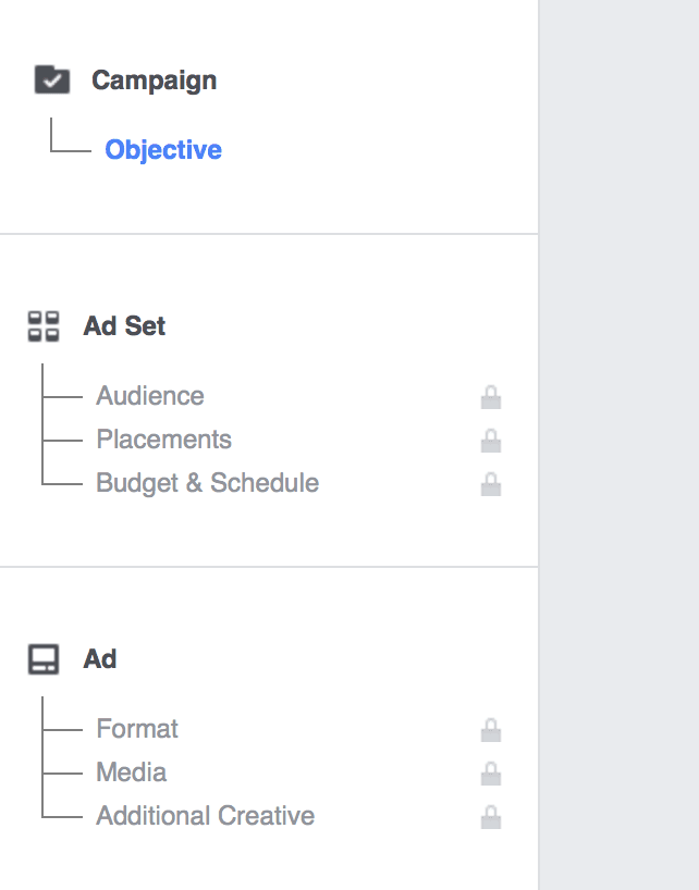 Account levels campaign ad set ad facebook structure
