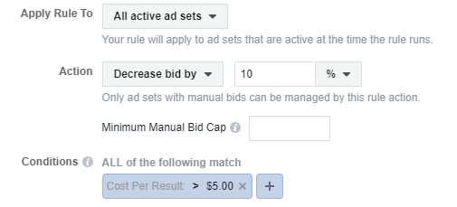 apply automated rules for cost per acquisition result on facebook ads for budget quality control