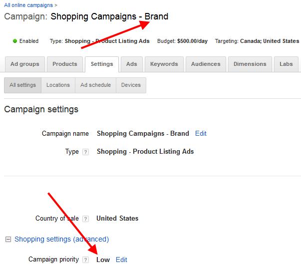 shopping campaigns brand segment