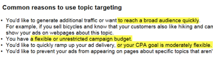 common reasons to use topic targeting