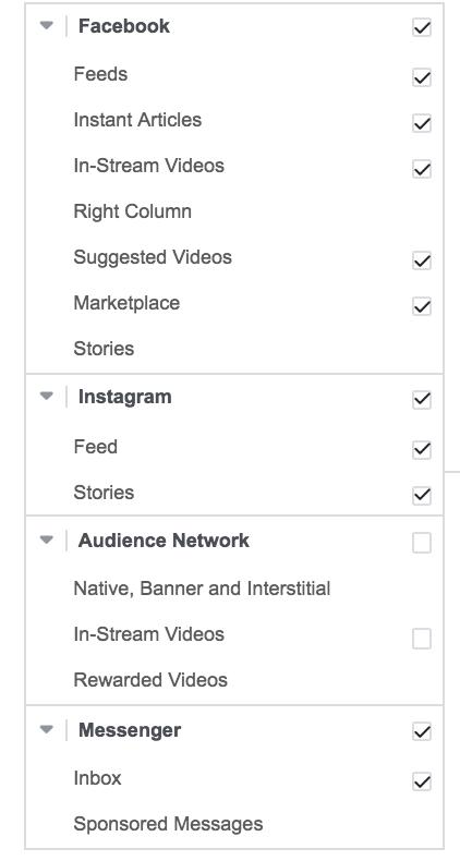 facebook placement segments