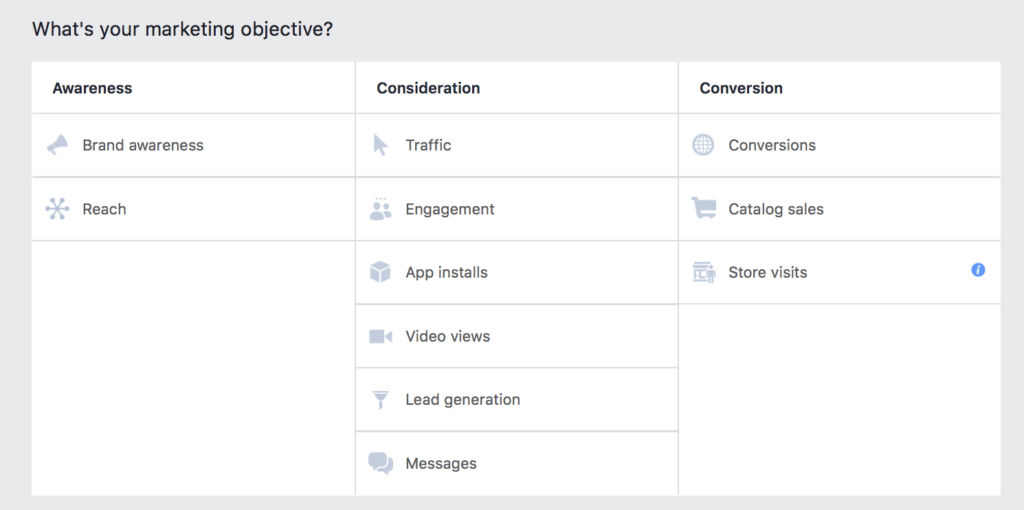 campaign objectives instagram similar to facebook