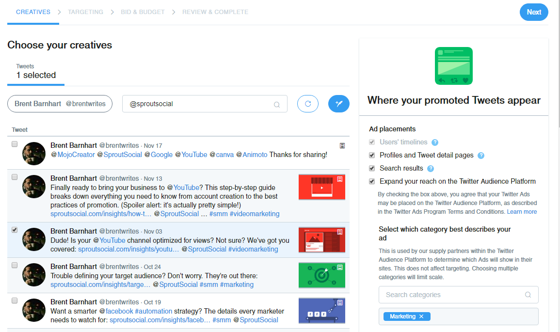 campaign set up twitter sprout social audience and placement
