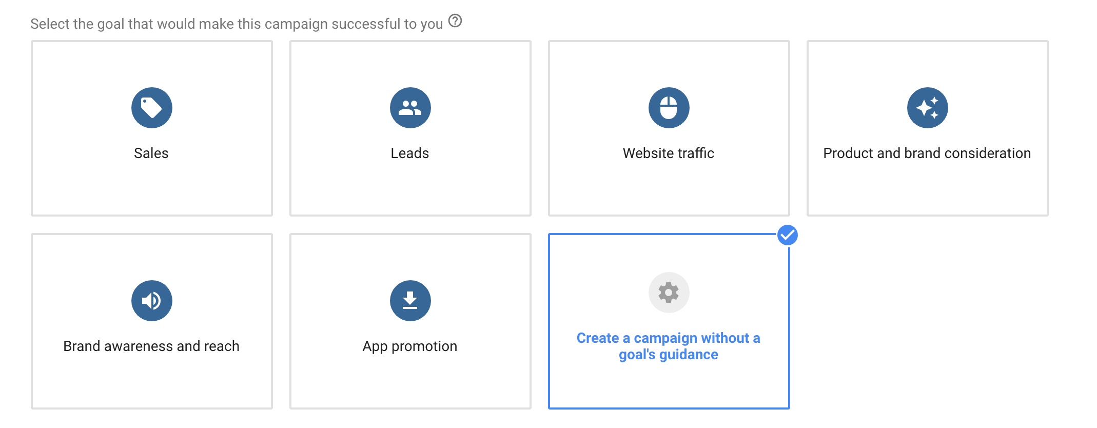 Choose campaign type youtube