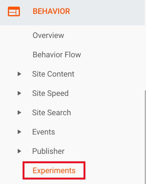 experiments in behavior section google analytics
