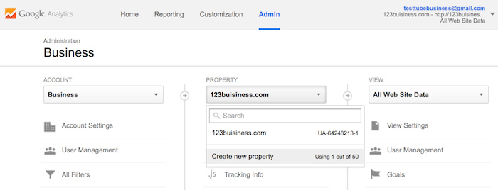 installing google analytics add property website domain