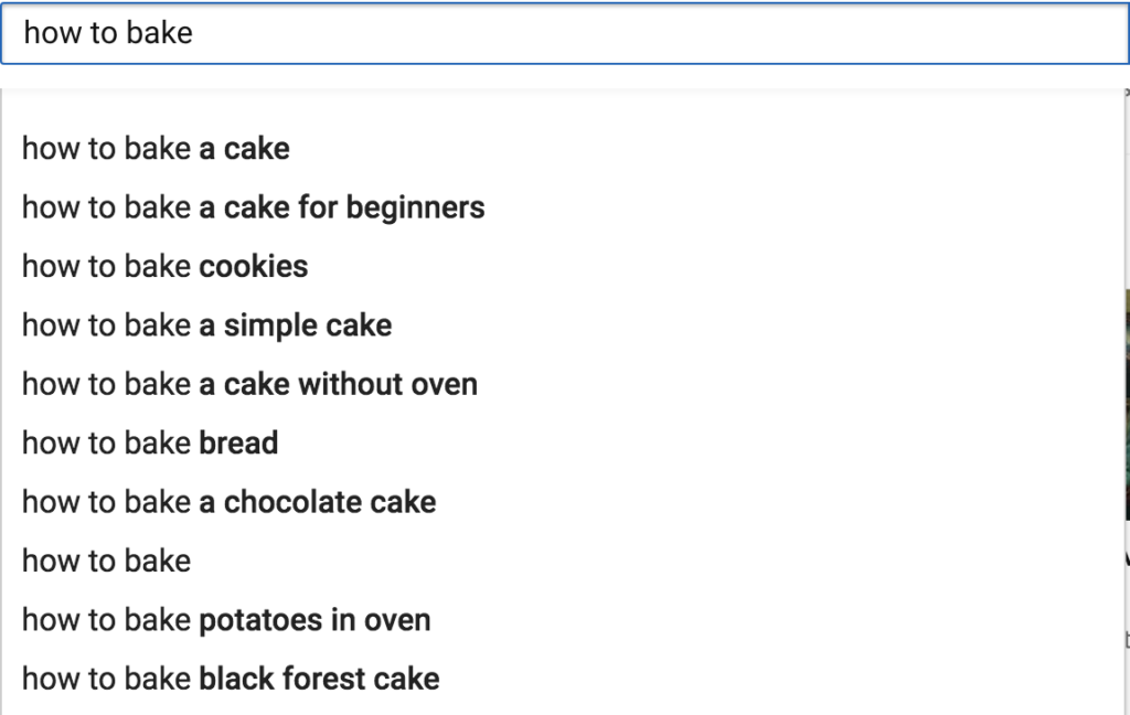 keyword research through search bar