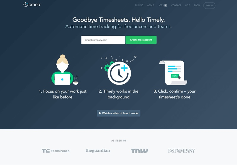 show your benefits - Timely landing page example
