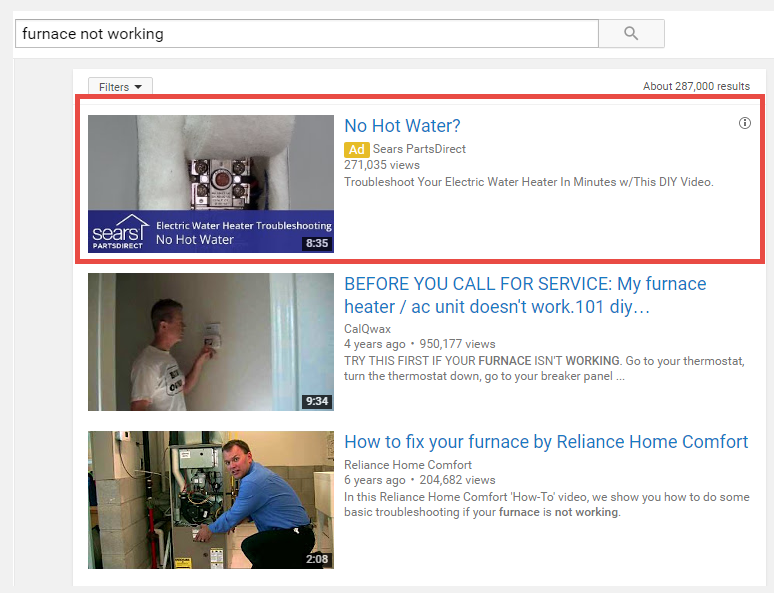 youtube ad in search results example blue corona