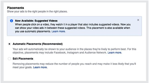 ad placements facebook video ads