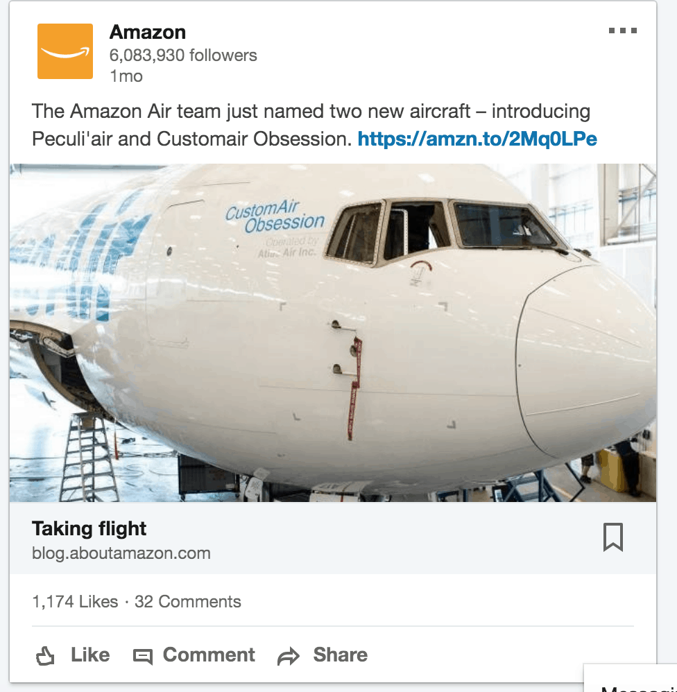 Amazon company update linkedin