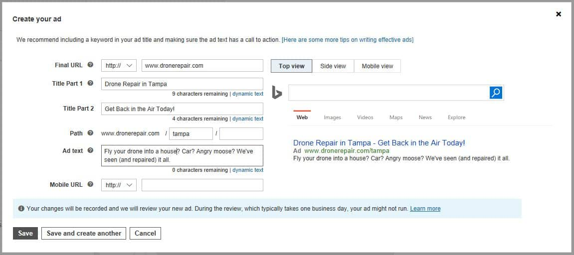 bing create ads screenshot