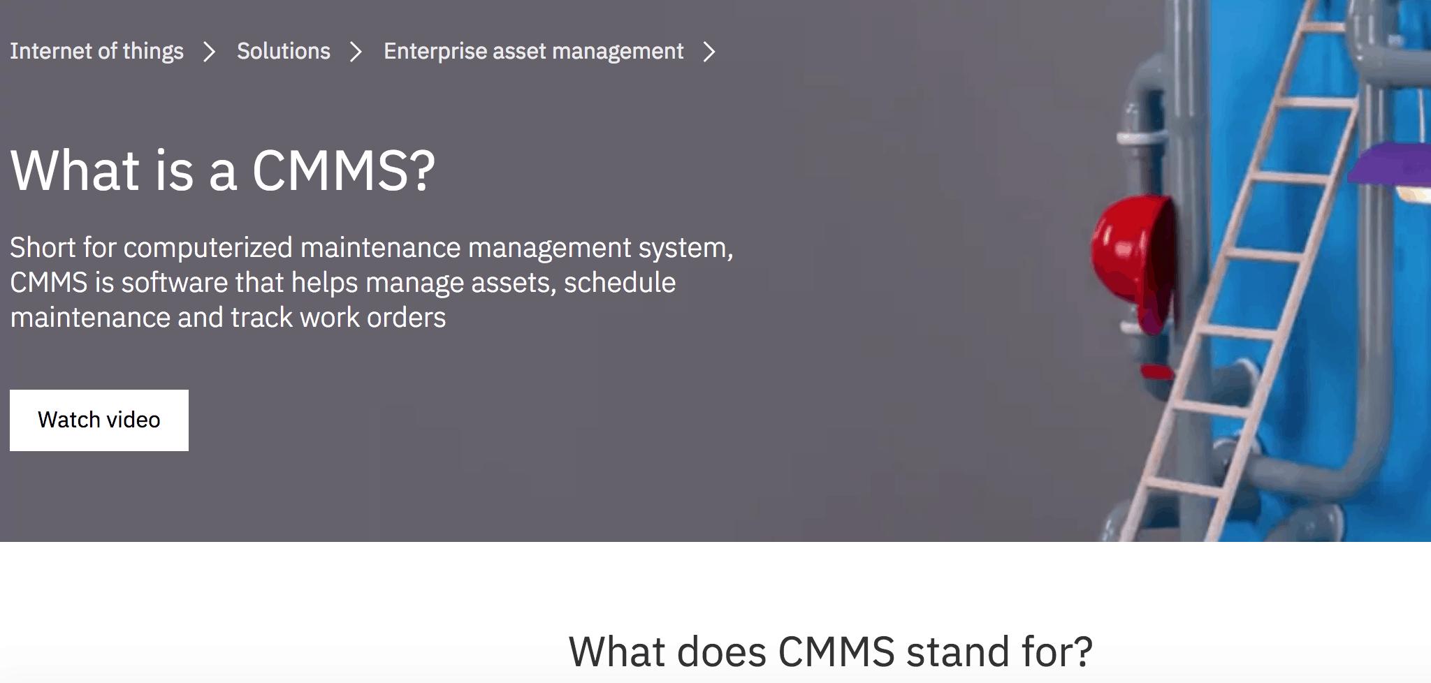 cmms landing page ibm sample general search