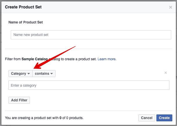 dynamic product ads product set screenshot