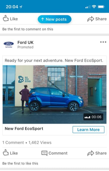 Ford LinkedIn ad example B2C