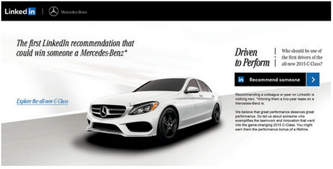 Mercedes Benz LinkedIn B2C high end example