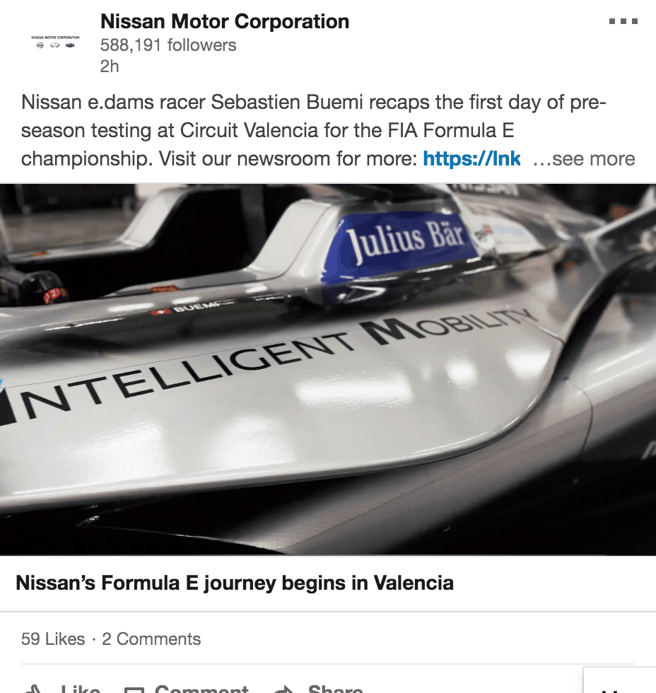 nissan racing targeting linkedin affluent