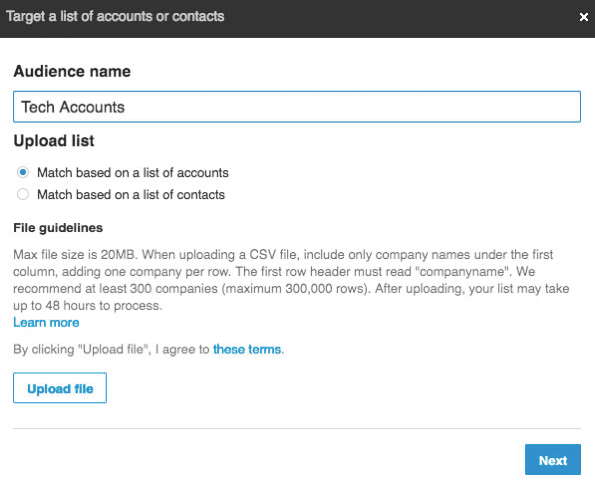 linkedin matched audience account targeting or email addresses