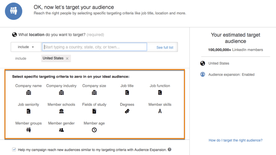 linkedin targeting for B2B attributes